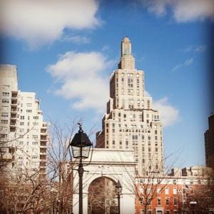 crisp blue sky over Washington Square Park